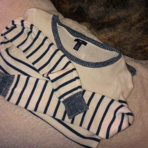 Gap Factory   White & Navy Striped Sweater